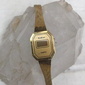 Armitron vtg gold digital Art Deco quartz watch